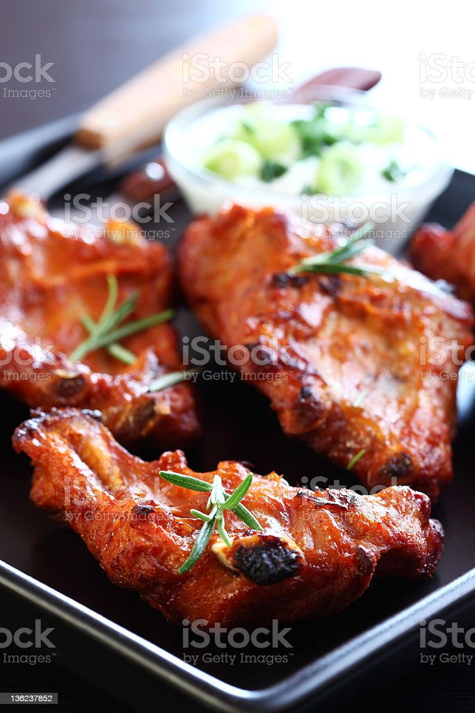 Spare ribs with vegetable salad royalty-free stock photo