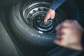 Spare Tire in Car Trunk