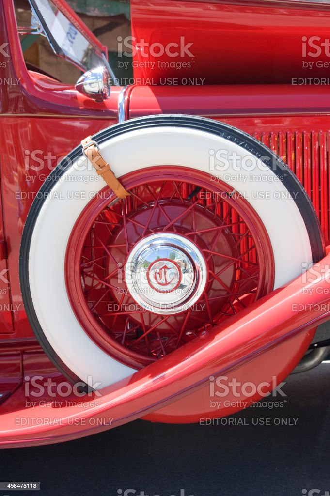 Spare Tire on a 1931 Chrysler CD 8 Deluxe Automobile stock photo