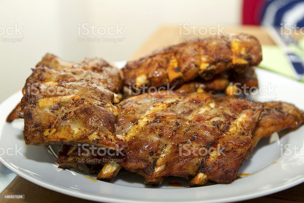 Spareribs with Barbecue Sauce stock photo