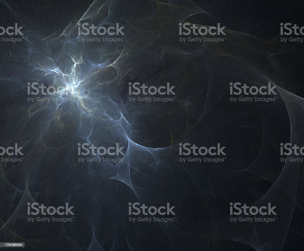 Spark of light in dark background showing the Big Bang stock photo