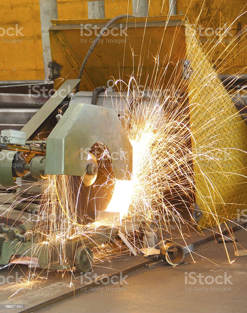 sparking of cutting machine stock photo