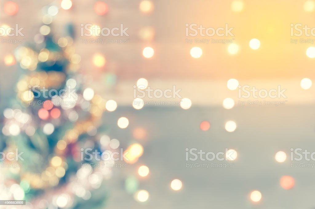 sparkle bokeh of Christmas tree, background for display of your stock photo