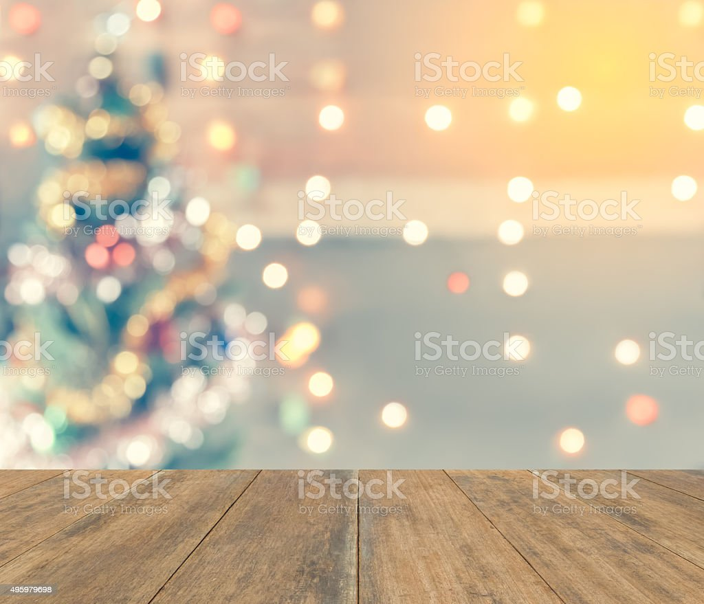 sparkle bokeh of Christmas tree, Template mock up for display stock photo