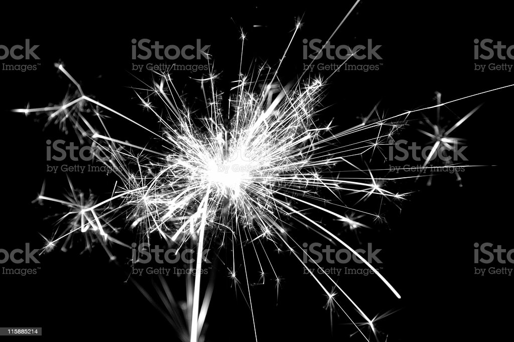 Sparkler Black & White royalty-free stock photo