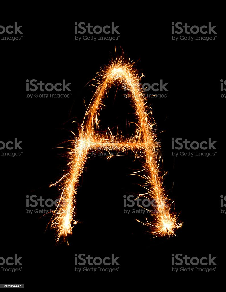 Sparkler firework light alphabet A (Capital Letters) at night stock photo