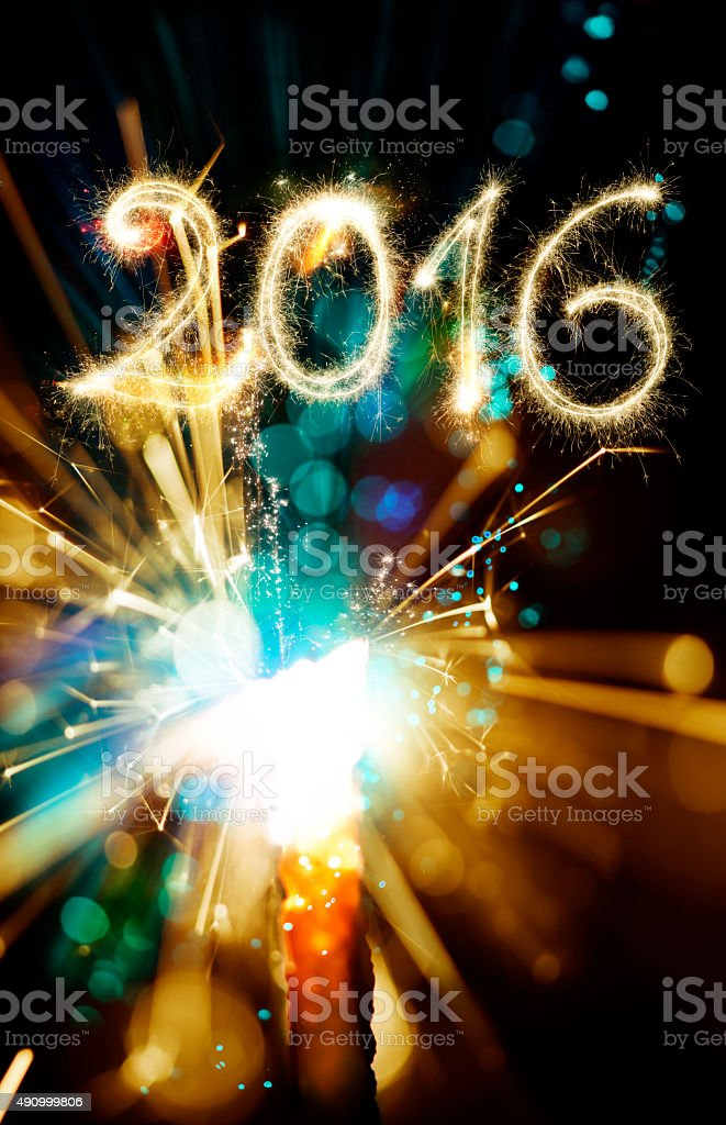 Sparkler Happy New Year 2016 With Firework-Elements stock photo