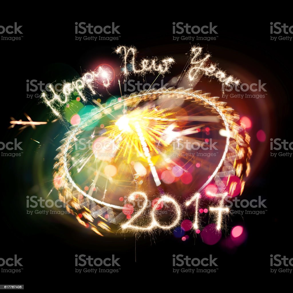 Sparkler Happy New Year 2017 With Firework-Elements stock photo