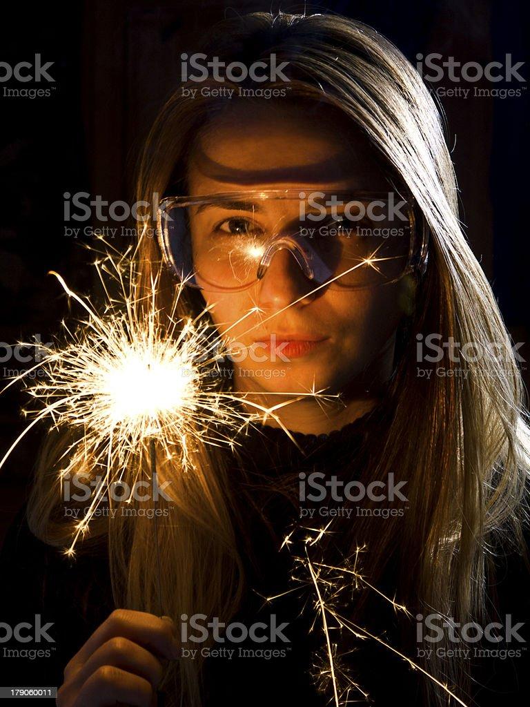 Sparkler in hand. stock photo