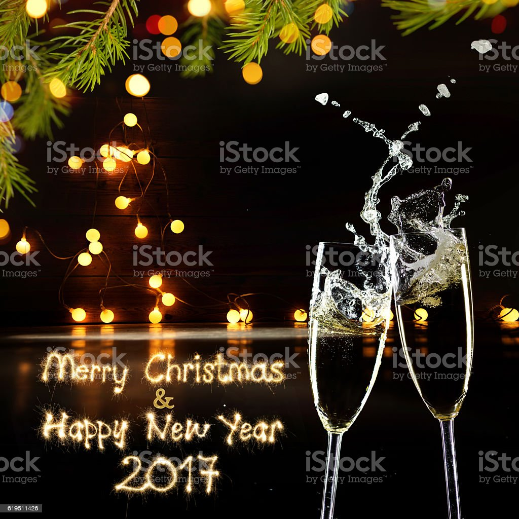 Sparkler Merry Christmas And Happy New Year 2017 stock photo