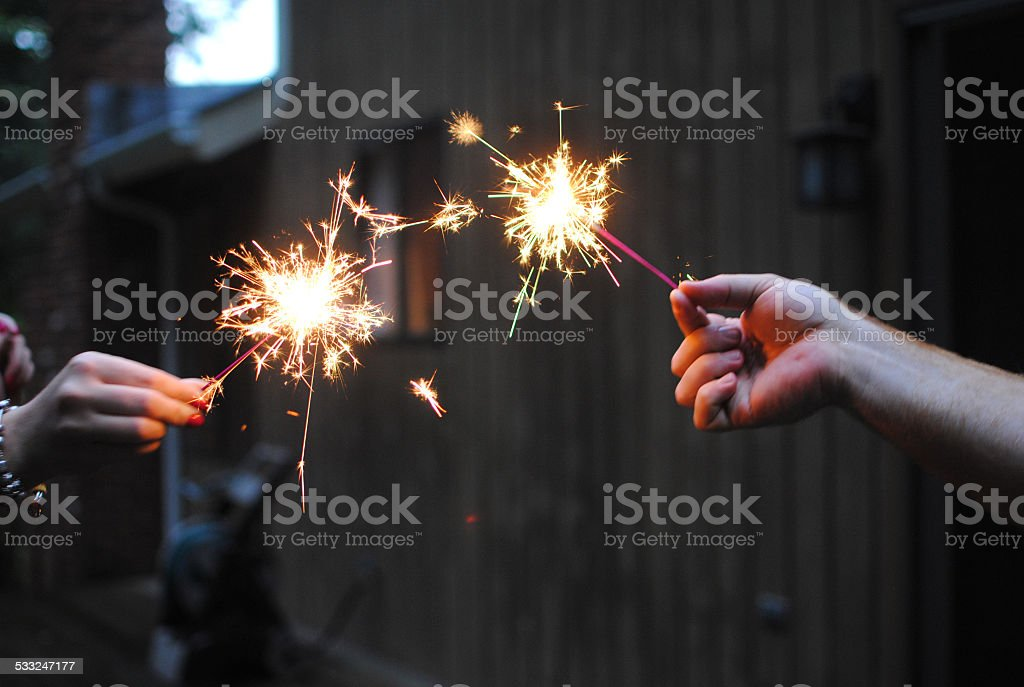 Sparklers in the Summer stock photo