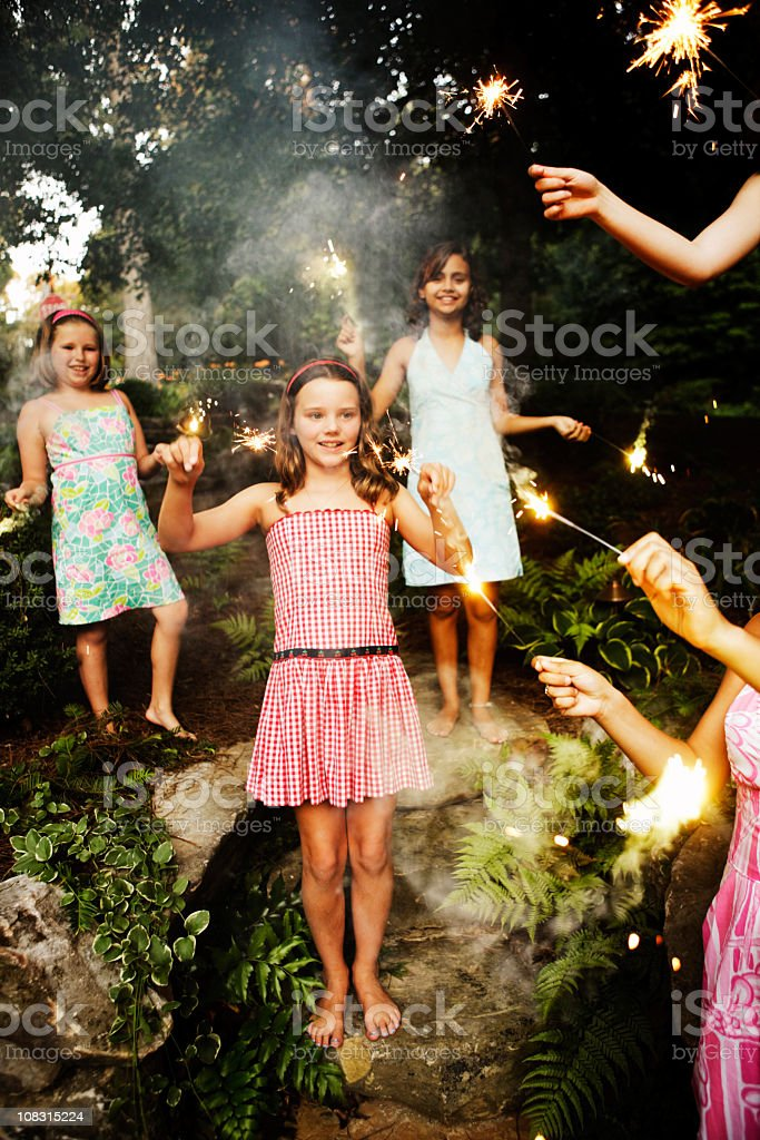 Sparklers on 4th of July stock photo