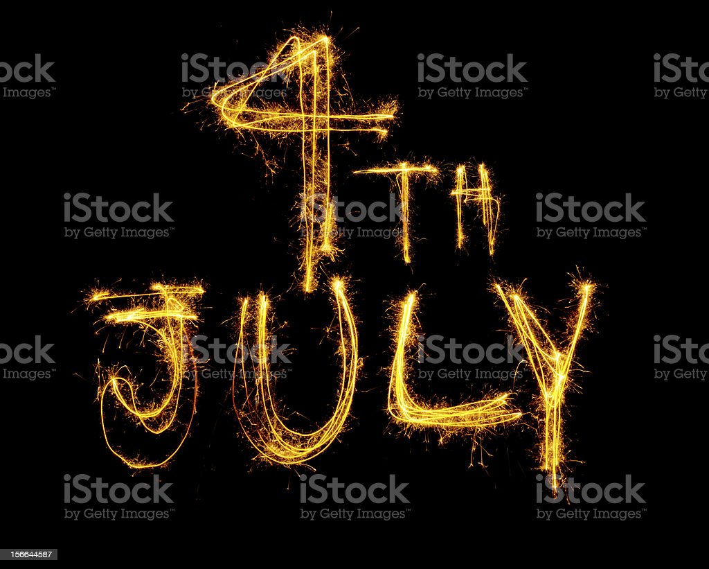 Sparklers spell 4th July royalty-free stock photo