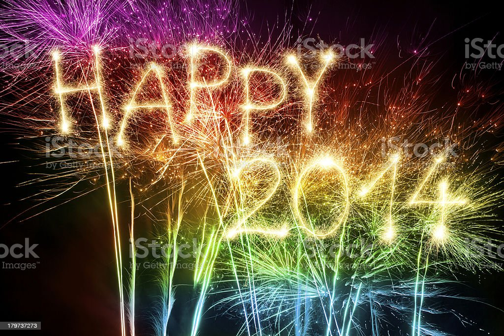 Sparkling 2014 With Fireworks stock photo