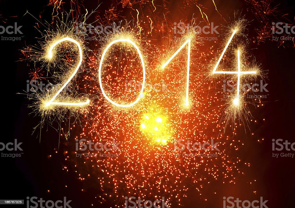 Sparkling 2014 with fireworks royalty-free stock photo
