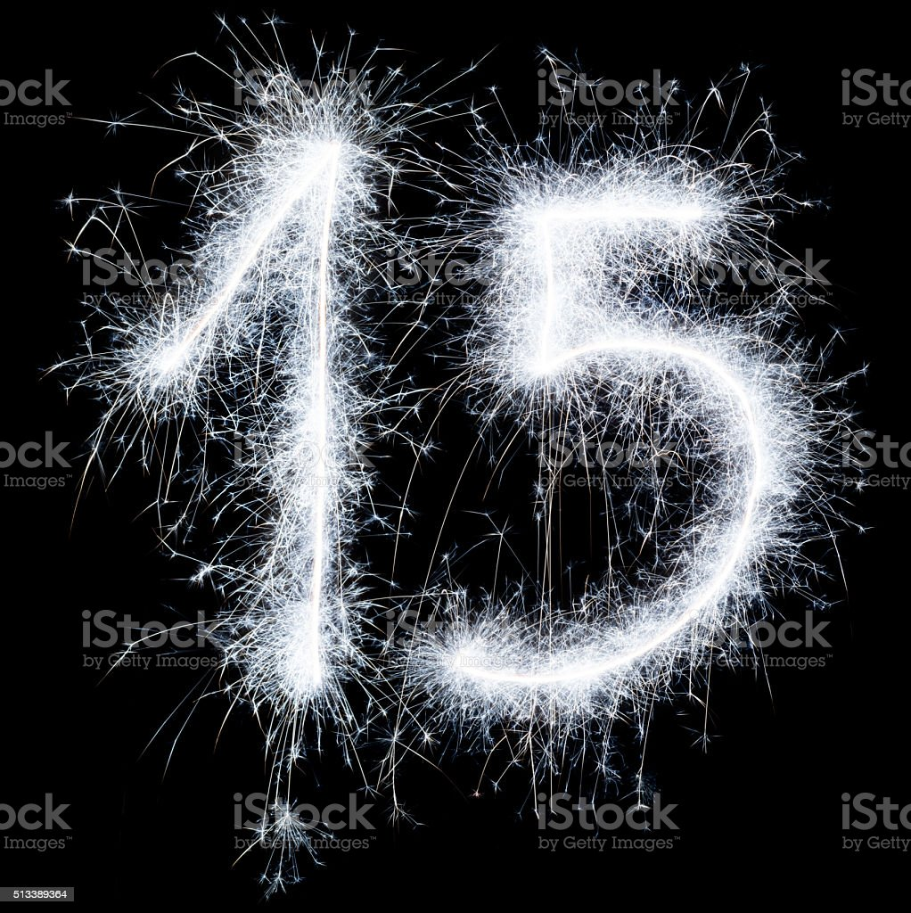 Sparkling celebration number fifteen 15th birthday stock photo