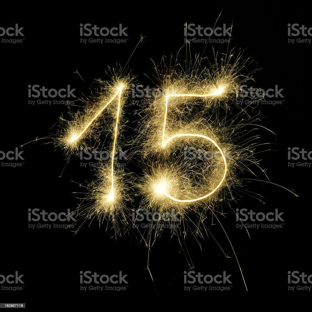 Sparkling Celebration Number Fifteen stock photo