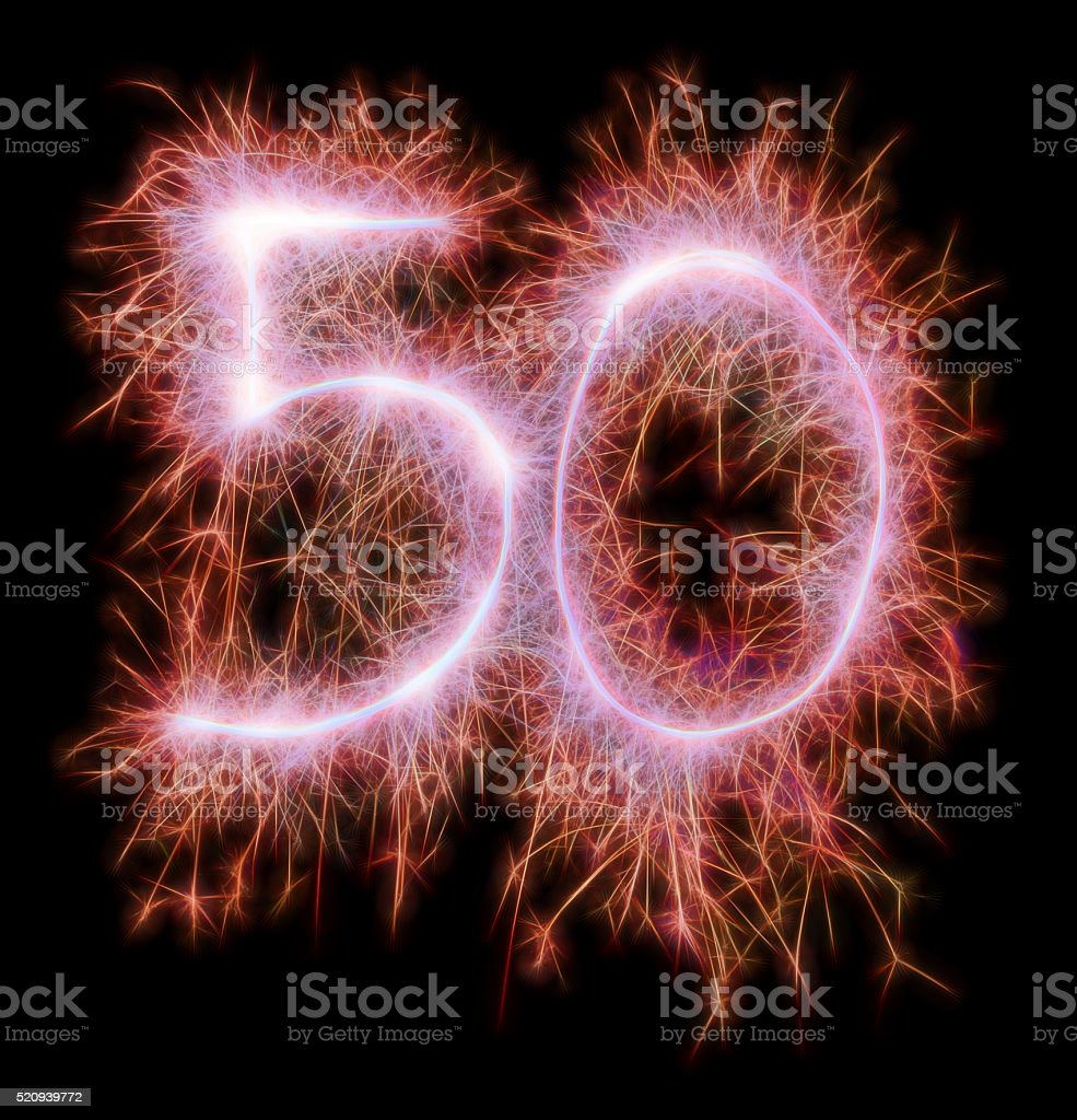 Sparkling celebration number fifty 50th birthday stock photo