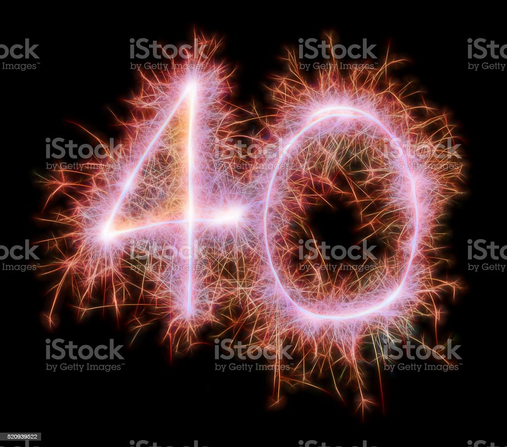 Sparkling celebration number fourty 40th birthday stock photo
