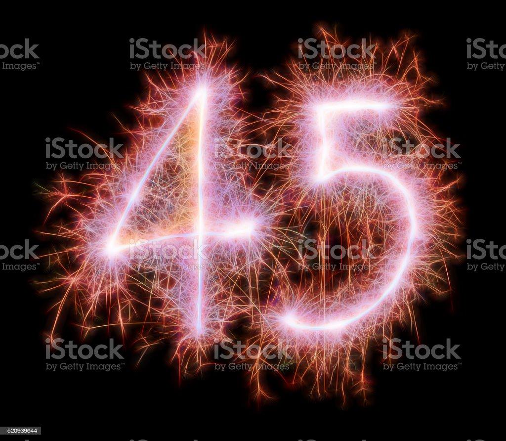 Sparkling celebration number fourtyfive 45th birthday stock photo