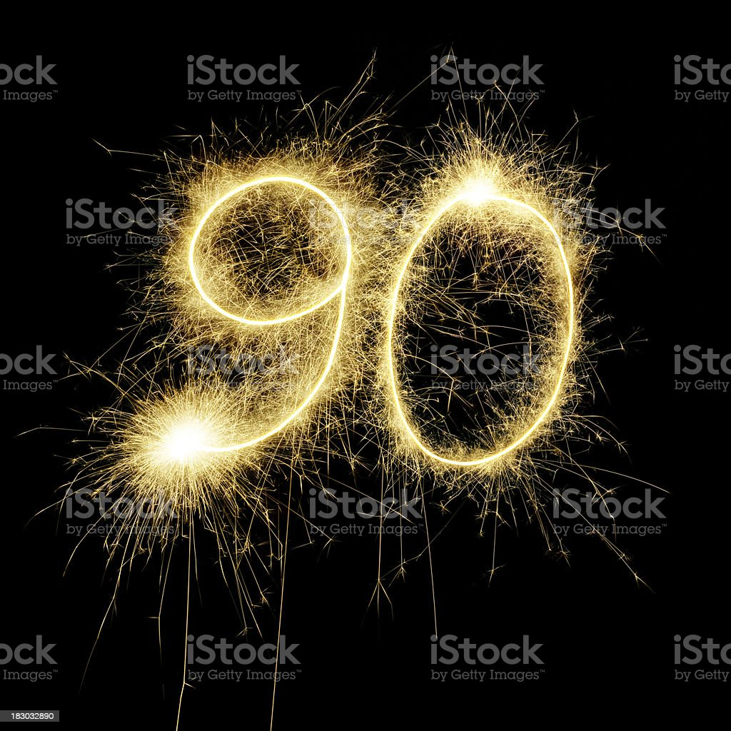 Sparkling Celebration Number Ninty stock photo