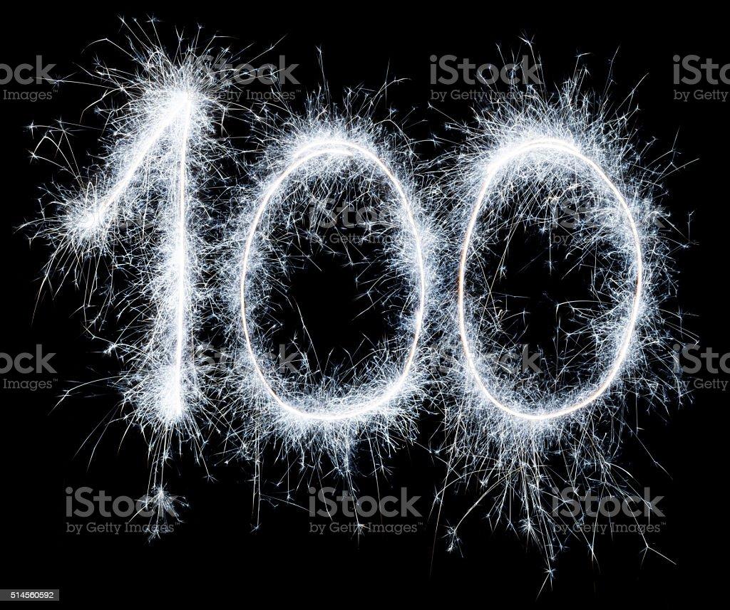 Sparkling celebration number one hundred 100th birthday stock photo