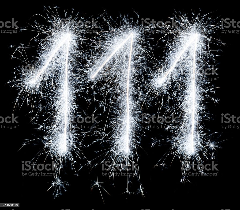 Sparkling celebration number one hundred and eleven 111th birthday stock photo
