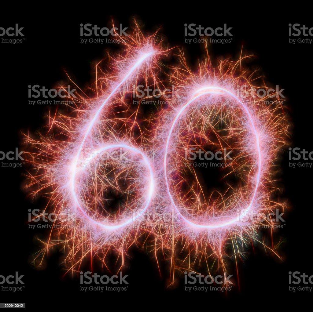 Sparkling celebration number sixty 60th birthday stock photo
