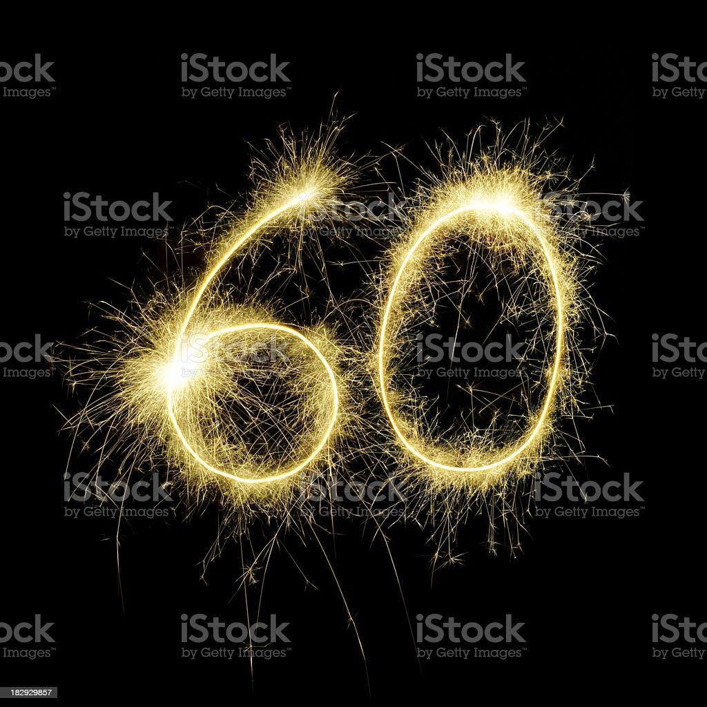 Sparkling Celebration Number Sixty stock photo