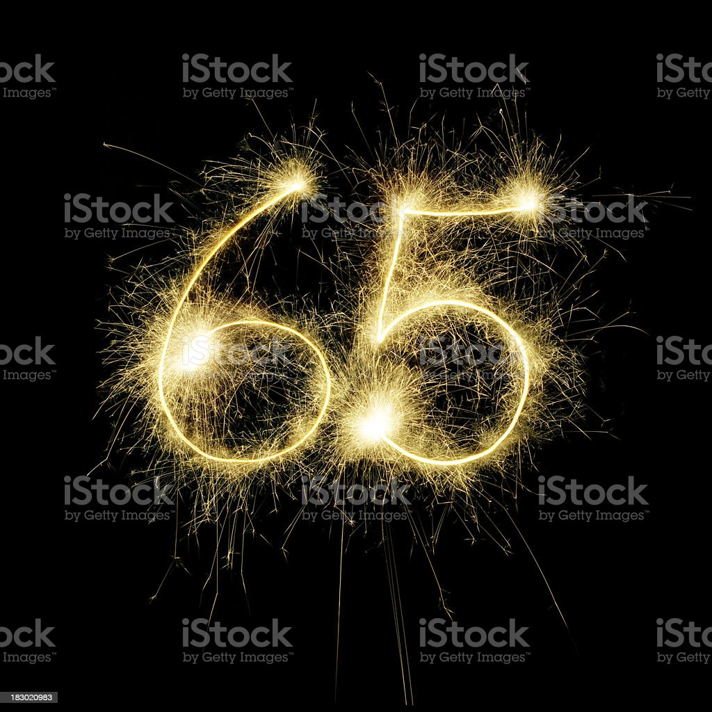 Sparkling Celebration Number Sixty-Five royalty-free stock photo