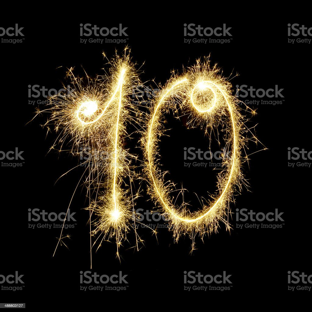 Sparkling Celebration Number Ten stock photo
