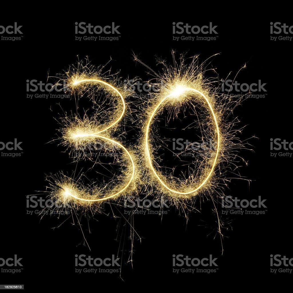 Sparkling Celebration Number Thirty royalty-free stock photo