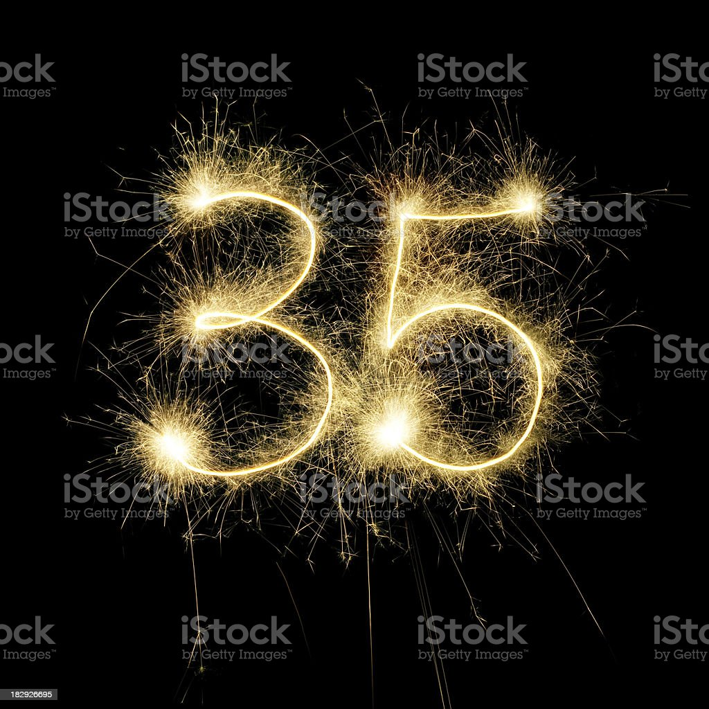 Sparkling Celebration Number Thirty-Five stock photo