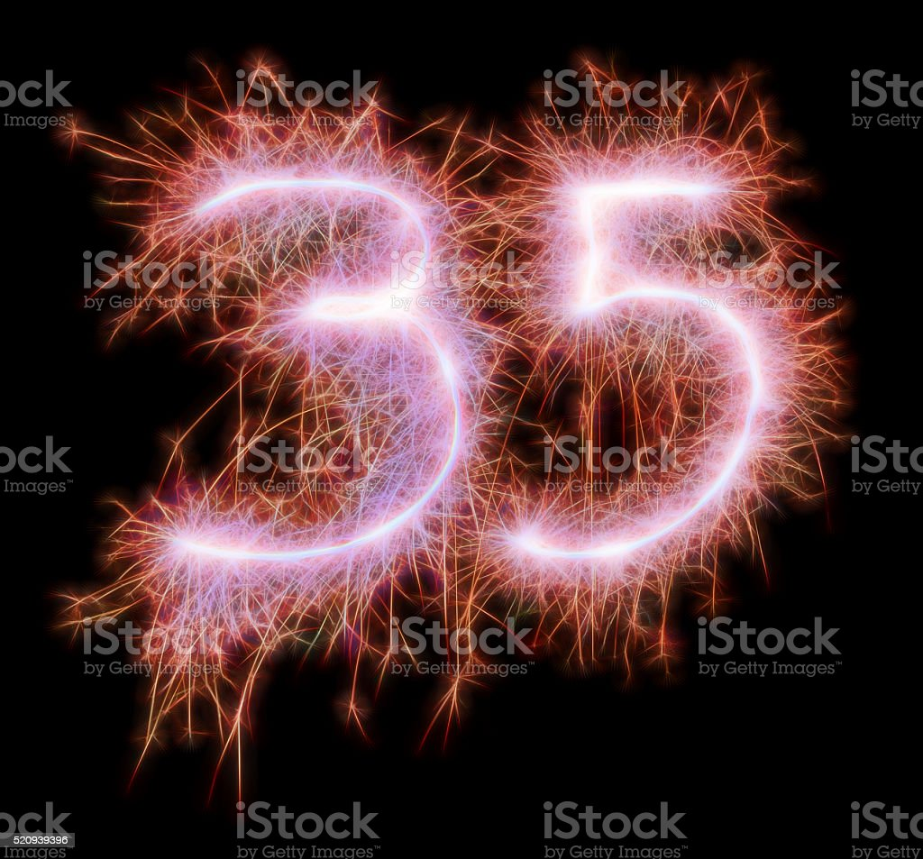 Sparkling celebration number thiryfive 35th birthday stock photo
