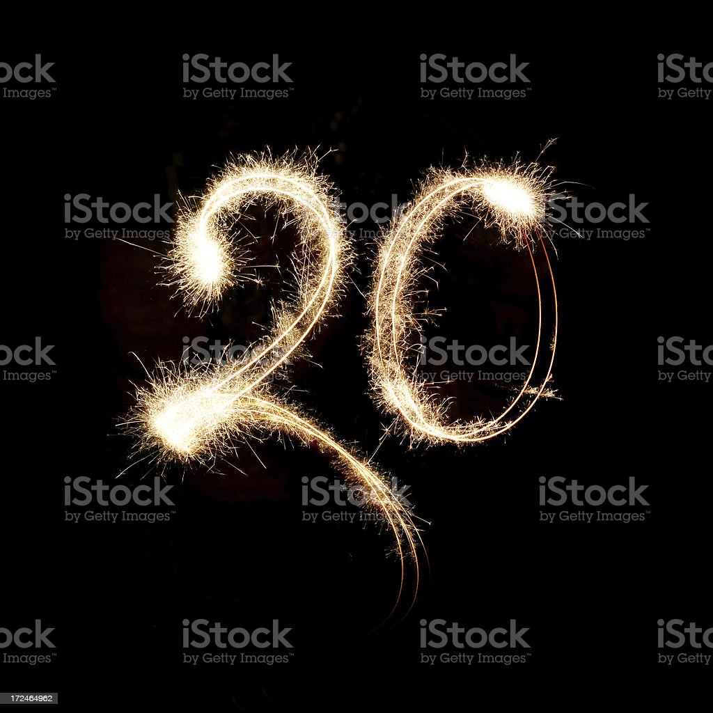 Sparkling Celebration Number Twenty royalty-free stock photo