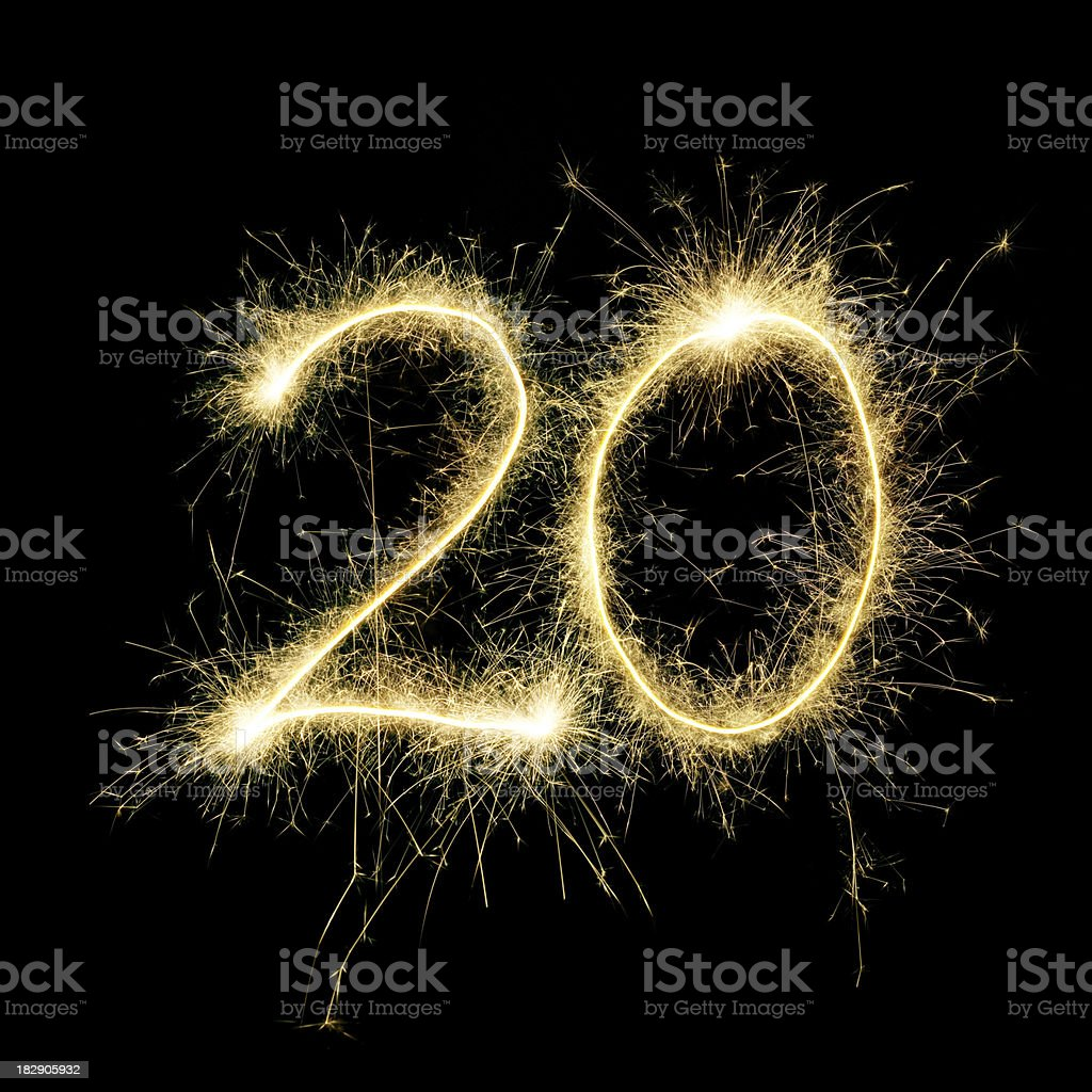 Sparkling Celebration Number Twenty stock photo