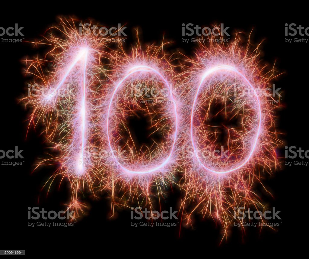 Sparkling celebration red number one hundred 100th birthday stock photo