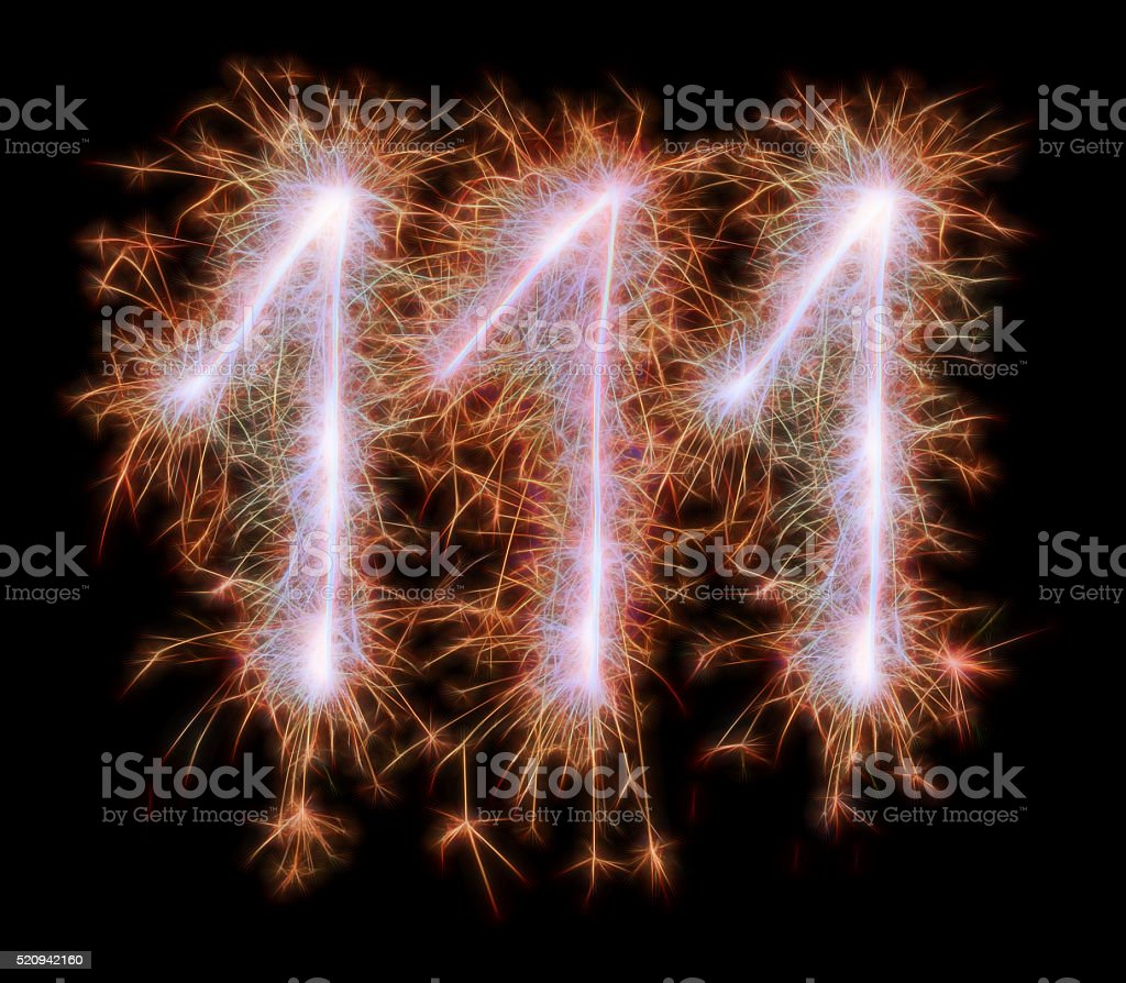 Sparkling celebration red number one hundred and eleven 111th birthday stock photo