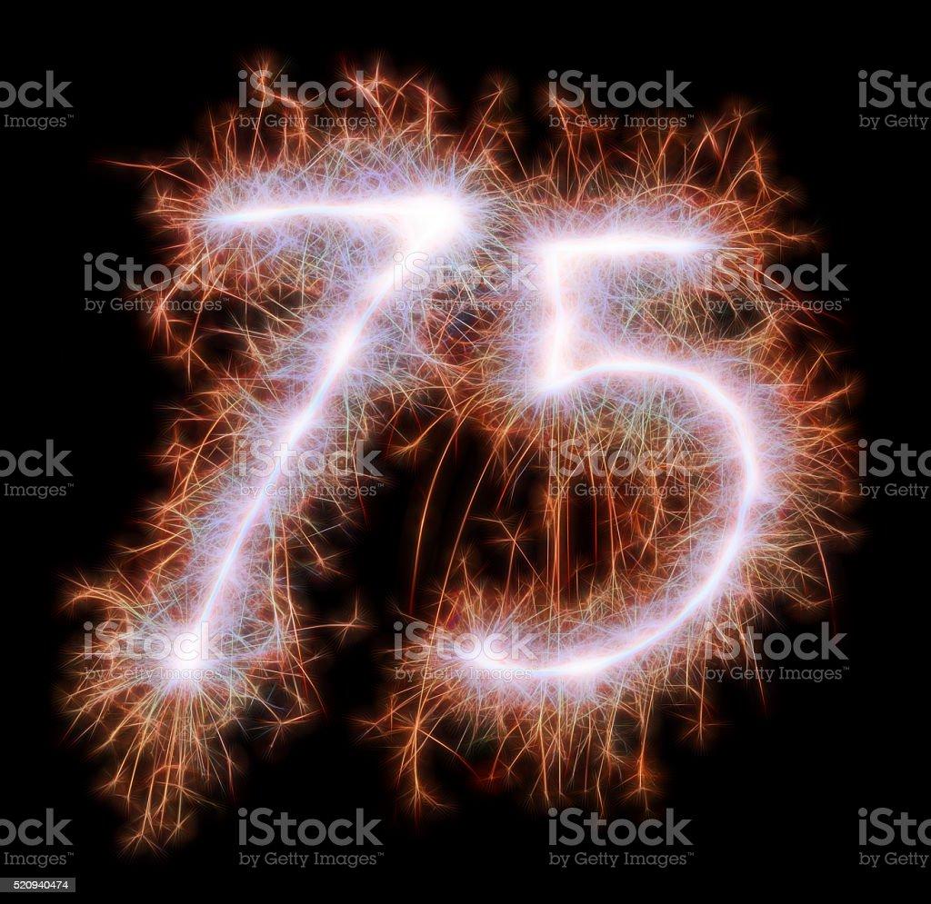 Sparkling celebration red number seventyfive 75th birthday stock photo