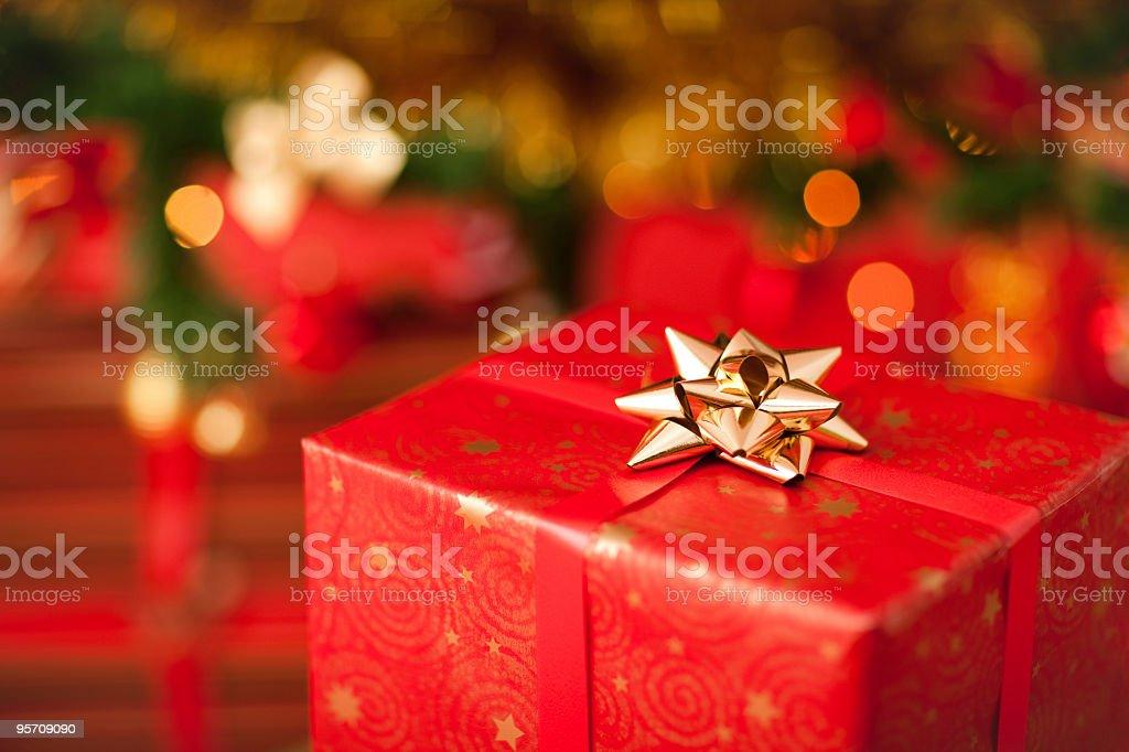 Sparkling christmas present stock photo