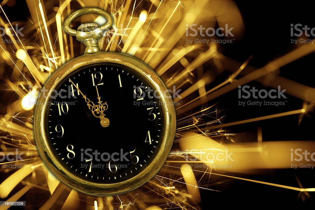 Sparkling Clock Countdown To Midnight royalty-free stock photo