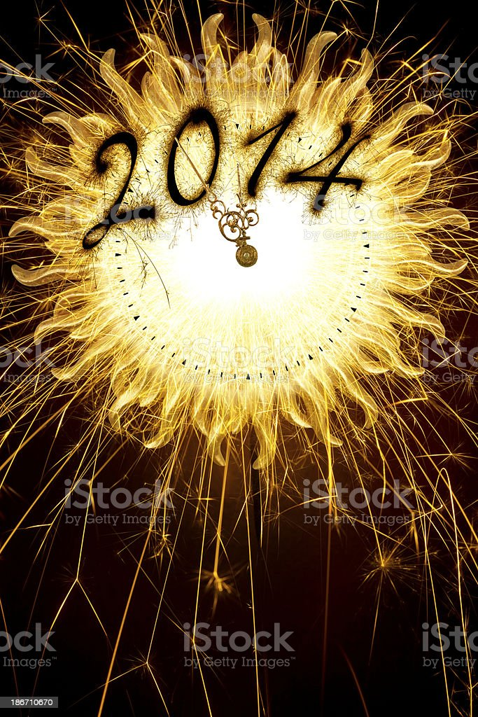 Sparkling Clock With New Year's 2014 royalty-free stock photo