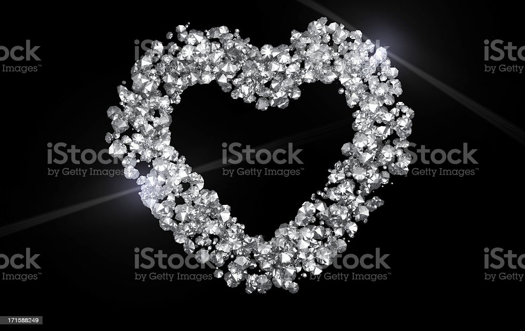 Sparkling diamond heart on black background royalty-free stock photo