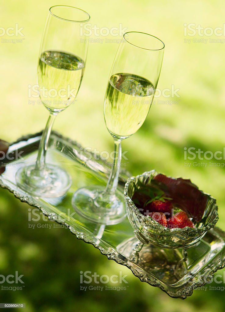 Sparkling drinks and strawberry stock photo