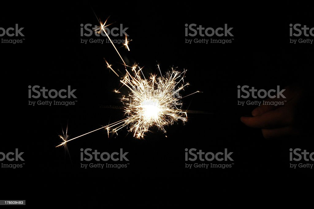 Sparkling fireworks in the night stock photo