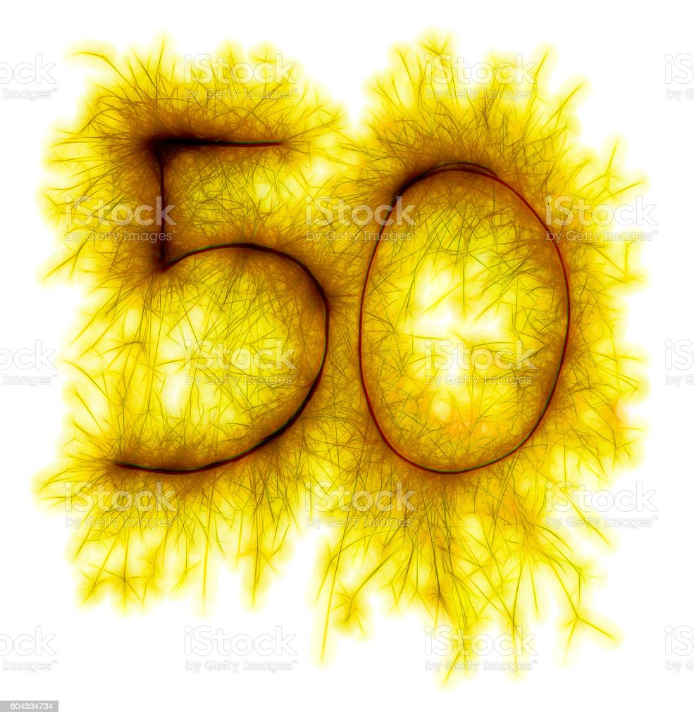 Sparkling golden celebration number fifty 50th birthday stock photo