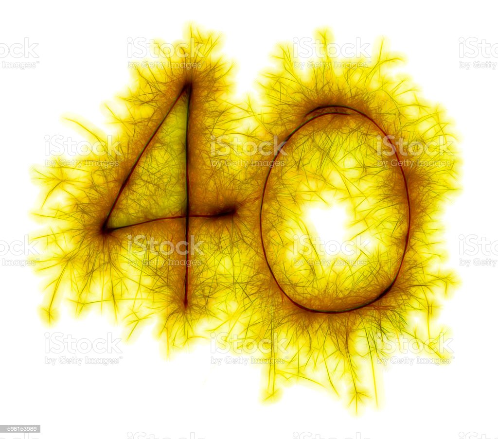 Sparkling golden celebration number fourty 40th birthday stock photo