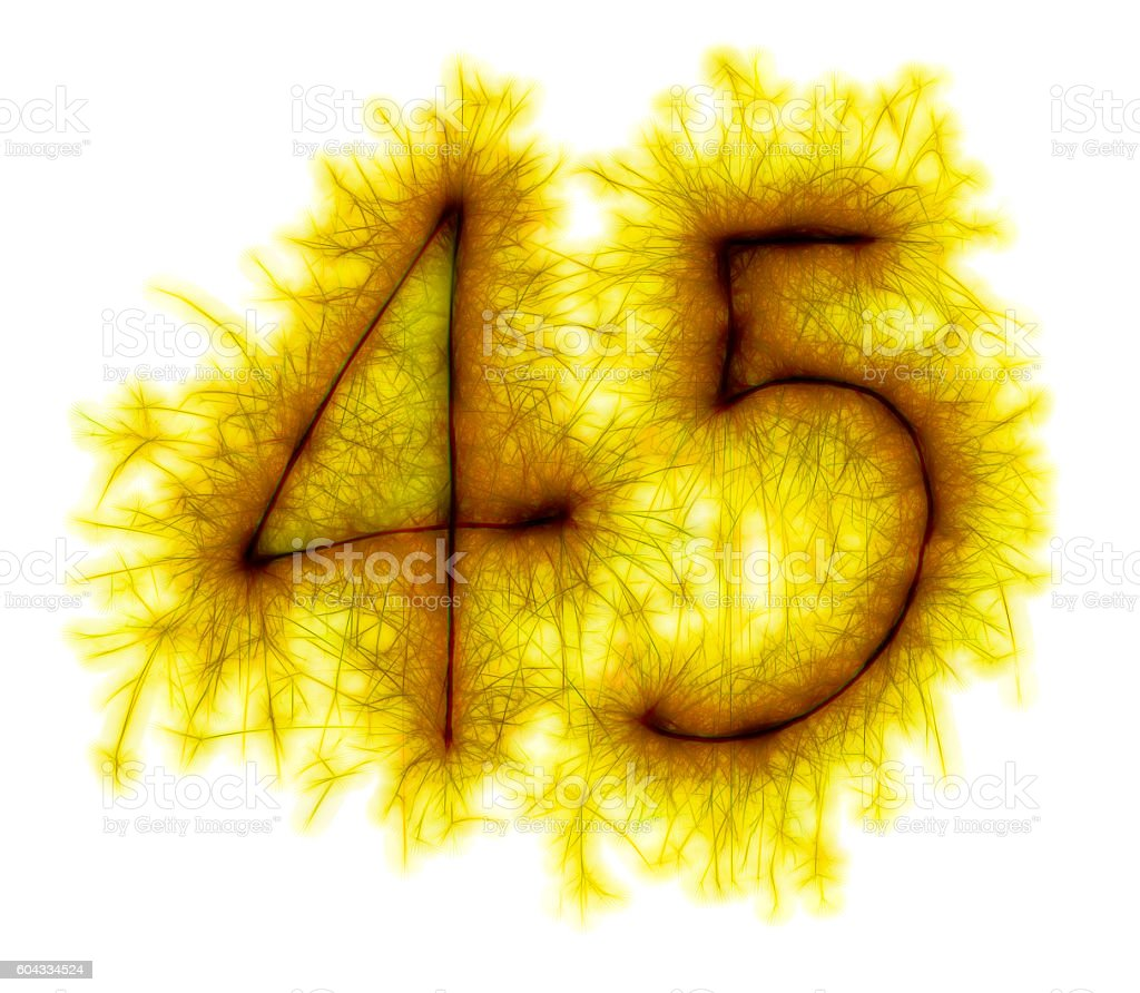Sparkling golden celebration number fourtyfive 45th birthday stock photo