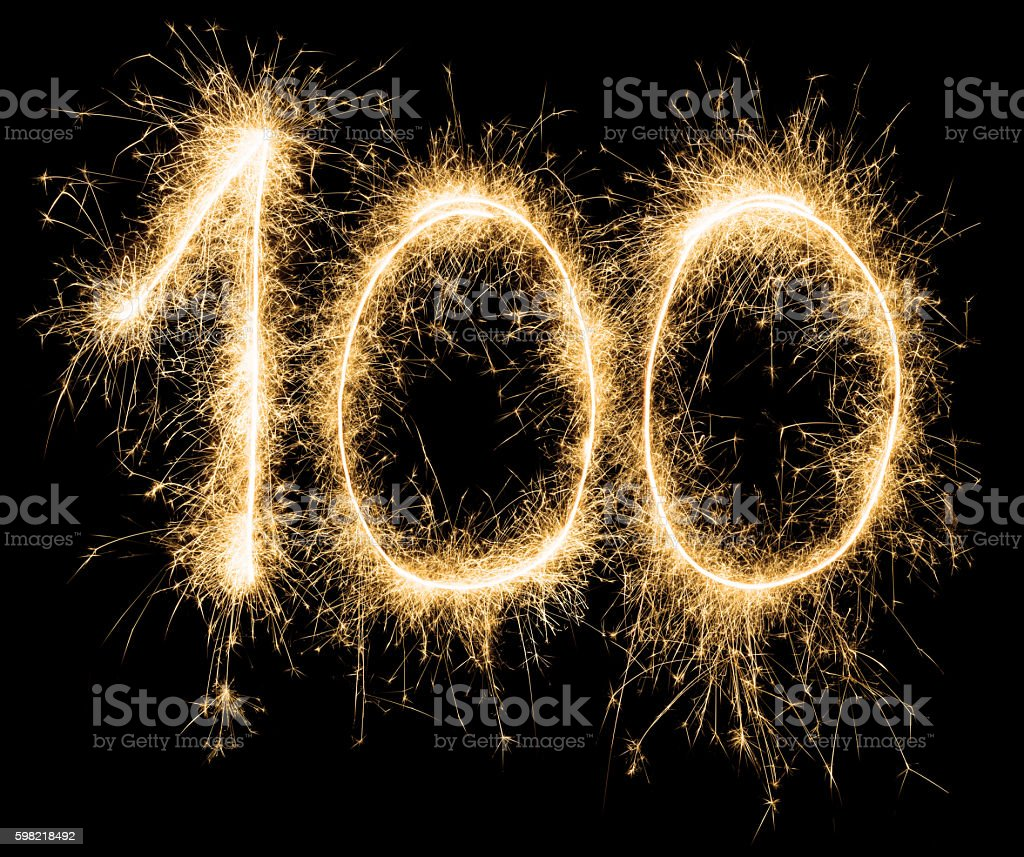 Sparkling golden celebration number one hundred 100th birthday stock photo