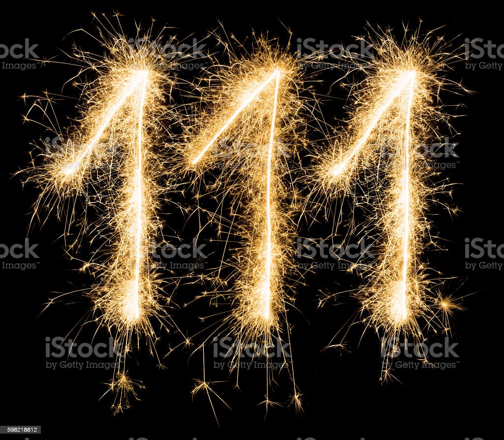 Sparkling golden celebration number one hundred and eleven 111th birthday stock photo